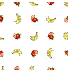 Seamless Pattern Strawberry Banana vector