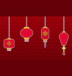 set chinese lanterns for happy new year eastern vector image