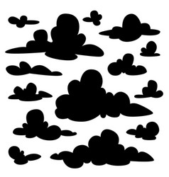 set of black fluffy clouds silhouettes on white vector image
