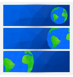 Set of blue world globe banners vector