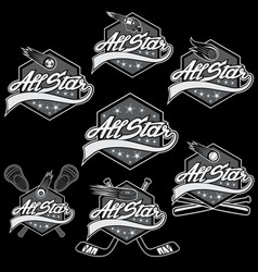 set of vintage sports all star crests vector image