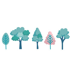 set trees forest icons vector image