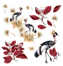 Set with graceful birds and leaves vector