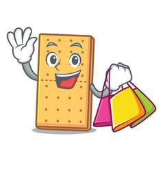 Shopping graham cookies character cartoon vector
