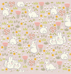 spring bunnies seamless pattern with flowers vector image