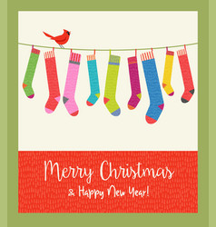 String colorful patterned christmas stockings vector