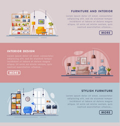 stylish interior and furniture design landing page vector image