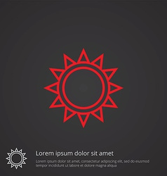 sun outline symbol red on dark background logo vector image