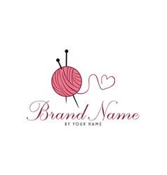 tailor sewing knitting vintage needle yarn logo vector image