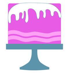 tasty pink cake on white background vector image