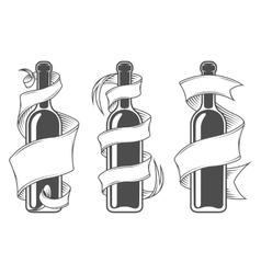Template bottles with ribbon vector image