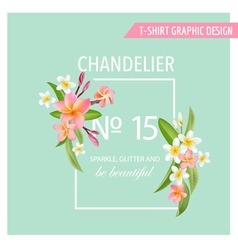 Tropical Flowers and Leaves Background Exotic Grap vector image