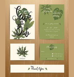 Tropical Palm Leaves Wedding Invitation Card Set vector image