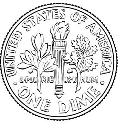 united states dime coin reverse vector image