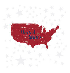 usa lettering with map vintage label badge with vector image