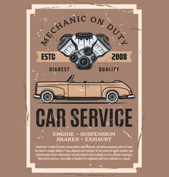 vintage car with engine parts auto repair service vector image