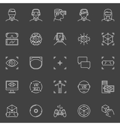 VR icons set vector