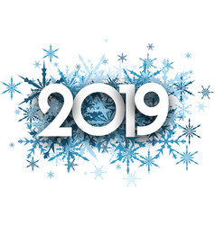 Winter 2019 background with blue snowflakes vector