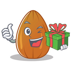 With gift almond nut character cartoon vector