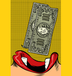 Woman eats money pop art style female mouth vector