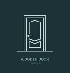 Wooden doors installation logo repair flat line vector