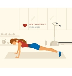 Young adult woman push-up from the floor in vector image