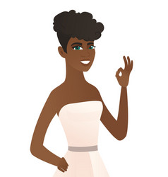 young african-american fiancee showing ok sign vector image