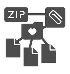 zip folder solid icon archive folder vector image