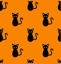 black cat seamless on orange background vector image