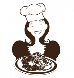 chinese woman holding plate vector image vector image