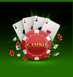 chips and cards casino banner vector image