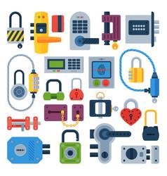 Different house door lock icons set vector