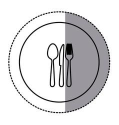 fugure emblem metal cutlery icon vector image vector image