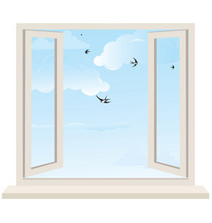 Open window on wall and cloudy sky with birds swal vector image vector image