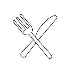 utensils kitchen crossed fork and knife outline vector image vector image
