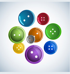 beautiful colorful glossy buttons clothes on a vector image