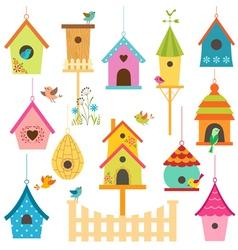 Bird houses vector