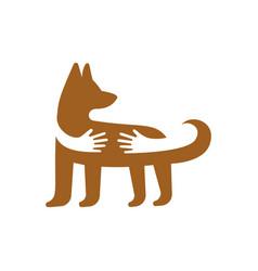 hands hugging dog logo template pet shop or vector image