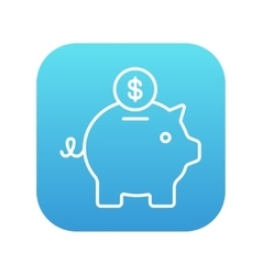 Piggy bank with dollar coin line icon vector image vector image