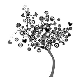 Stylized black tree with circles and butterflies vector image vector image