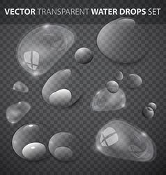 Transparent Water Drops Set vector image