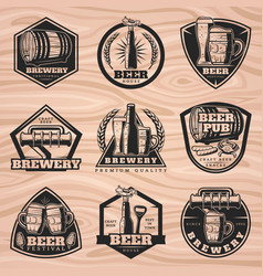 black brewery labels set vector image vector image