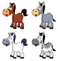 Cartoon horse set vector image vector image