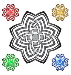 floral logo template in celtic knots style vector image