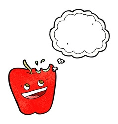 happy apple cartoon with thought bubble vector image vector image