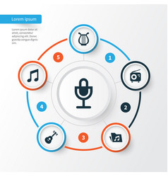 multimedia icons set collection of instrument vector image vector image