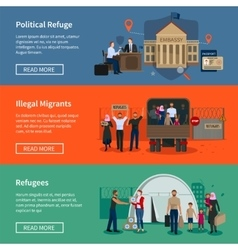 Stateless refugees horizontal banners vector