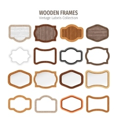 Wooden Vintage Labels Collection vector image vector image
