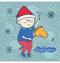 Little boy with toy horse christmas vector image vector image