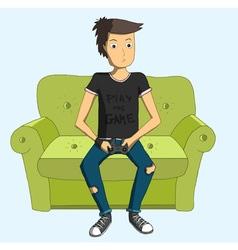 Man playing videogames cartoon vector image